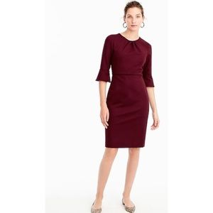 J. Crew Bell-sleeve sheath stretch ponte Burgundy
